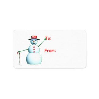 Muñeco de nieve de las Felices Navidad 3D Etiqueta De Dirección