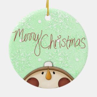 Muñeco de nieve de las Felices Navidad Adorno De Reyes