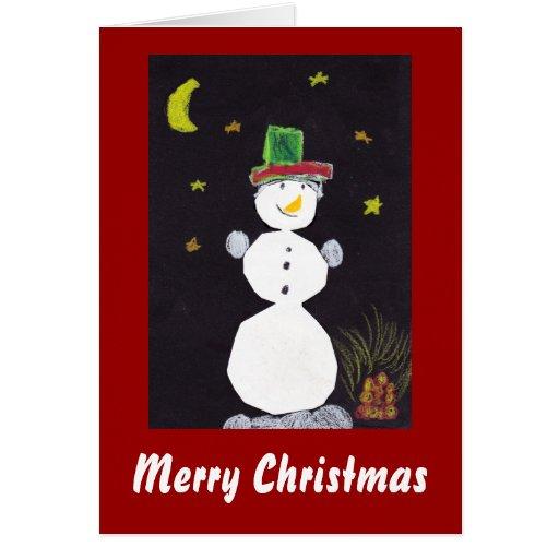 Muñeco de nieve de las felices Navidad en gorra en