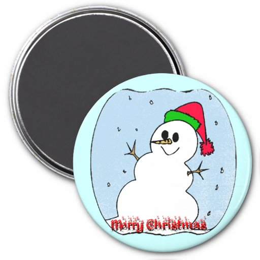 Muñeco de nieve de las Felices Navidad Imán Redondo 7 Cm