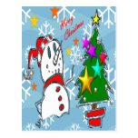 Muñeco de nieve de las Felices Navidad Postal