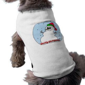 Muñeco de nieve de las Felices Navidad Ropa Perro