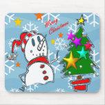 Muñeco de nieve de las Felices Navidad Tapete De Ratón