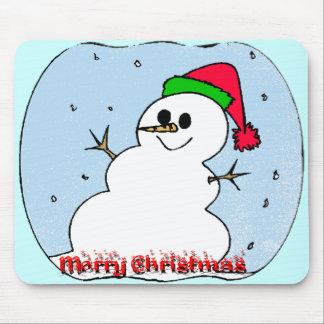 Muñeco de nieve de las Felices Navidad Tapetes De Ratones