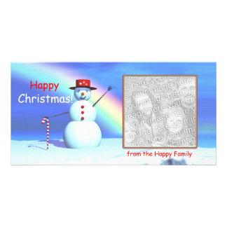 Muñeco de nieve de las felices Navidad Tarjetas Fotográficas Personalizadas