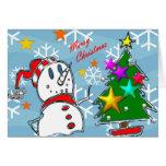 Muñeco de nieve de las Felices Navidad Tarjeton
