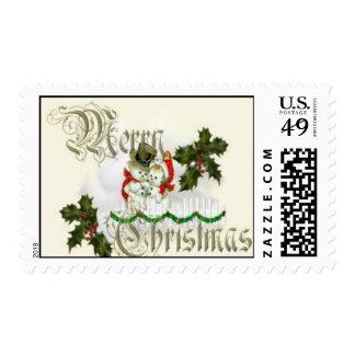Muñeco de nieve de las Felices Navidad y sello de