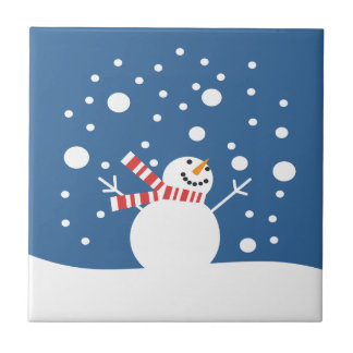 Muñeco de nieve de las vacaciones de invierno tejas  cerámicas