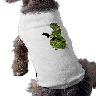 Muñeco de nieve de los militares del navidad camisetas de mascota