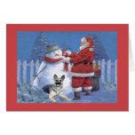 Muñeco de nieve de Santa de la tarjeta de Navidad