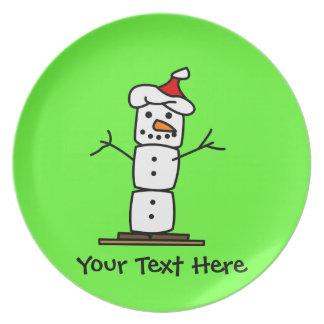 Muñeco de nieve de Smores del navidad Plato De Cena