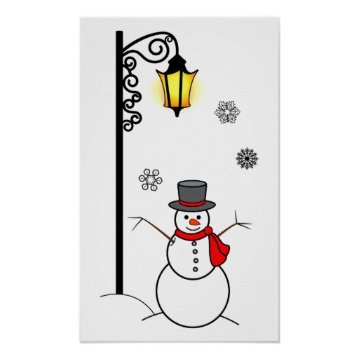 Muñeco de nieve debajo de un Lamppost en la nieve Impresiones