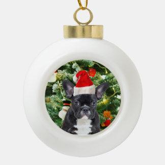 Muñeco de nieve del árbol de navidad del dogo adorno de cerámica en forma de bola