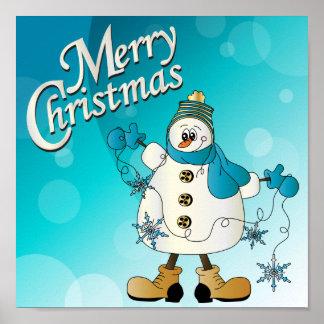 Muñeco de nieve del azul de las Felices Navidad Posters