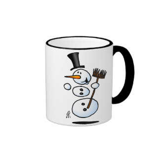 Muñeco de nieve del baile taza de café