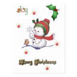 muñeco de nieve del bebé que habla con una postal
