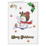 muñeco de nieve del bebé que habla con una tarjeta