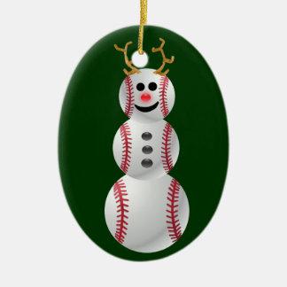 Muñeco de nieve del béisbol adorno navideño ovalado de cerámica