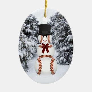 Muñeco de nieve del béisbol ornamentos para reyes magos