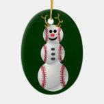 Muñeco de nieve del béisbol ornato