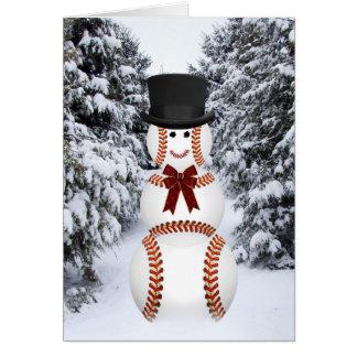 Muñeco de nieve del béisbol tarjeta de felicitación