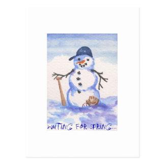 Muñeco de nieve del béisbol postal