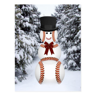 Muñeco de nieve del béisbol tarjeta postal