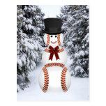 Muñeco de nieve del béisbol tarjetas postales