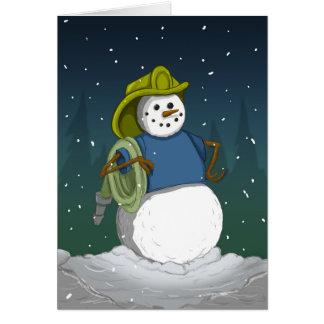 Muñeco de nieve del bombero felicitacion