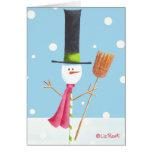 Muñeco de nieve del Caramelo-Palillo con la escoba Tarjetón