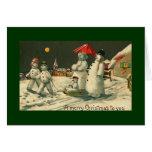 muñeco de nieve del christman del vintage tarjetón