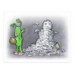 muñeco de nieve del día enfermo postales