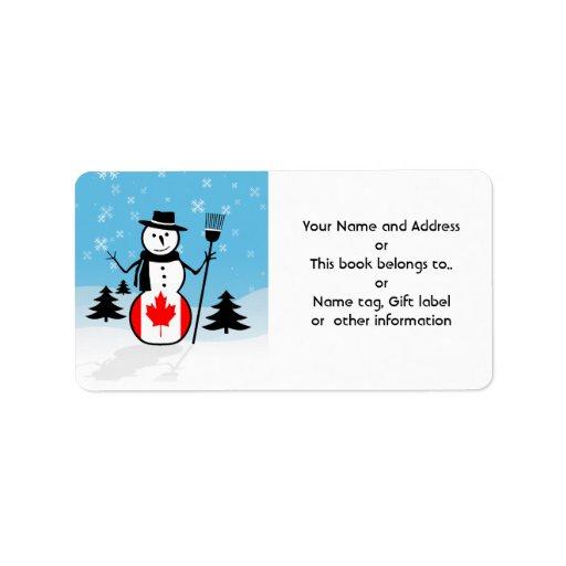 Muñeco de nieve del dibujo animado en el campo de etiquetas de dirección