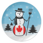 Muñeco de nieve del dibujo animado en el campo de  plato para fiesta