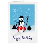 Muñeco de nieve del dibujo animado en el campo de  felicitación