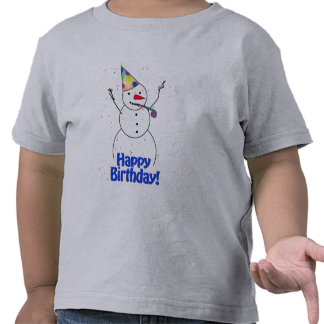 Muñeco de nieve del feliz cumpleaños camiseta