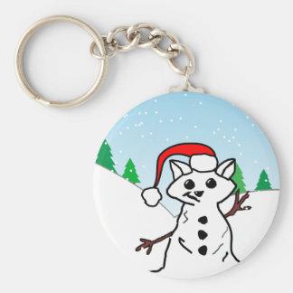 Muñeco de nieve del gato llavero redondo tipo pin