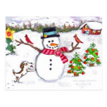 Muñeco de nieve del invierno del navidad y postal