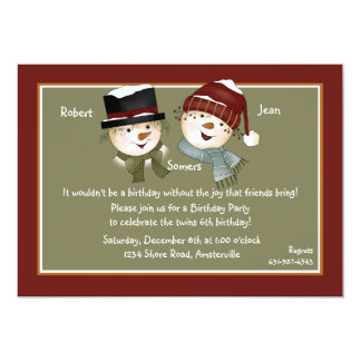 """Muñeco de nieve del muchacho y del chica - invitación 5"""" x 7"""""""
