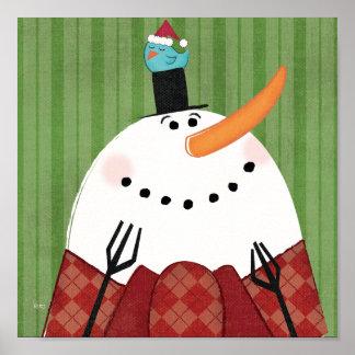 Muñeco de nieve del navidad con el pájaro del impresiones