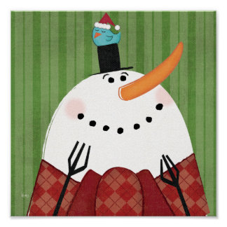 Muñeco de nieve del navidad con el pájaro del póster