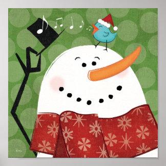 Muñeco de nieve del navidad con el pájaro impresiones