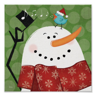 Muñeco de nieve del navidad con el pájaro póster