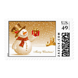 Muñeco de nieve del navidad con el sombrero de timbre postal