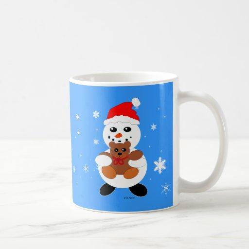 Muñeco de nieve del navidad con la taza del oso de
