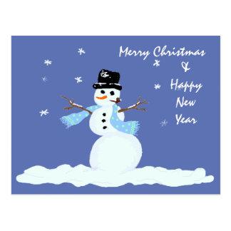 Muñeco de nieve del navidad de la familia tarjeta postal