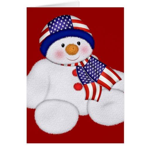 Muñeco de nieve del navidad de los E.E.U.U. Tarjeton