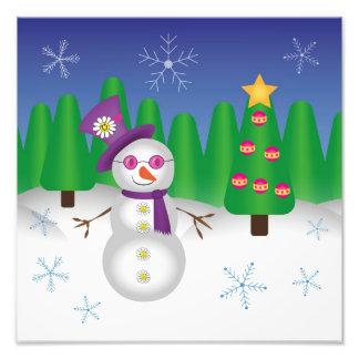 Muñeco de nieve del navidad del Hippie Fotografias