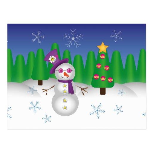 Muñeco de nieve del navidad del Hippie Tarjeta Postal
