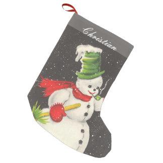 Muñeco de nieve del navidad del vintage calcetín de navidad pequeño